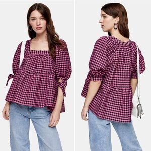 Topshop Pink Neon Check Chuck On Blouse NWT Sz 12